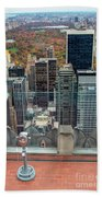 Looking Down At New York Central Park Surounded By Buildings Beach Towel