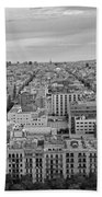 Looking Down On Barcelona From The Sagrada Familia Black And White Beach Towel