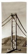 Looking North At The Golden Gate Bridge Under Construction With No Deck Yet 1936 Beach Towel