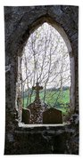 Looking Out Fuerty Church Roscommon Ireland Beach Towel