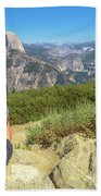 Looking Panorama At Glacier Point Beach Towel