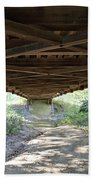 Looking Up Nevins Bridge Indiana Beach Towel