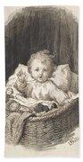 Lorenz Frolich Danish, Copenhagen 1820-1908 Hellerup, Child In A Crib Beach Sheet