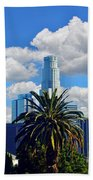 Los Angeles And Palm Trees Beach Towel