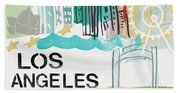 Los Angeles Cityscape- Art By Linda Woods Beach Sheet