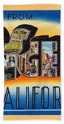 Los Angeles Vintage Travel Postcard Restored Beach Towel