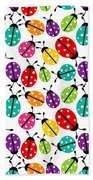 Lots Of Crayon Colored Ladybugs Beach Towel