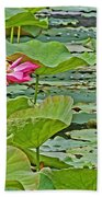 Lotus Blossom And Heron Beach Towel