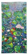 Lotus Flower Water Lily Lily Pads Painting Beach Towel