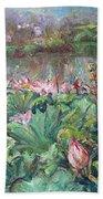 Lotus Pond-3 Beach Towel