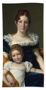 Louis David   Portrait Of The Comtesse Vilain Xiiii And Her Daughter Beach Towel