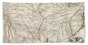 Map Of Louisiana And Of The River Mississippi Beach Towel