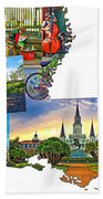 Louisiana Map - New Orleans Beach Towel