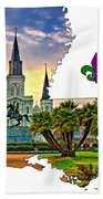 Louisiana Map - St Louis Cathedral Beach Towel