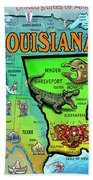Louisiana Usa Cartoon Map Beach Towel