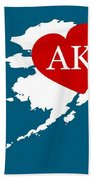 Love Alaska White Beach Towel