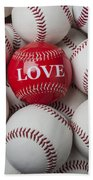 Love Baseball Beach Towel