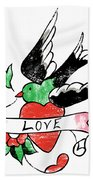Love Bird Tattoo Beach Towel