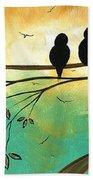 Love Birds By Madart Beach Towel by Megan Duncanson
