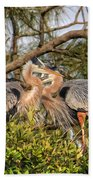Love Birds - Great Blue Heron Beach Towel