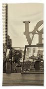 Love On The Parkway In Sepia Beach Towel