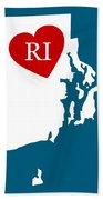 Love Rhode Island White Beach Towel