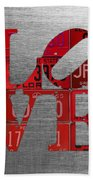 Love Sign Philadelphia Recycled Red Vintage License Plates On Aluminum Sheet Beach Towel