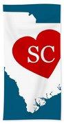 Love South Carolina White Beach Towel