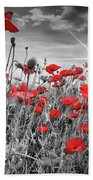 Lovely Field Of Poppies With Sun  Beach Towel