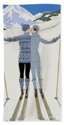 Lovers In The Snow Beach Towel