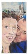 Lovers Selfie In York, England Beach Sheet