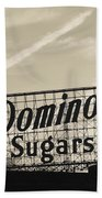 Low Angle View Of Domino Sugar Sign Beach Towel