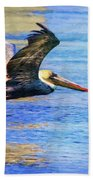 Low Flying Pelican Beach Towel