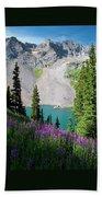Lower Blue Lake Summer Portrait Beach Towel by Cascade Colors