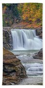 Lower Falls In Autumn Beach Towel