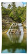 Lower Falls Reflection Of Enfield Glen Beach Towel