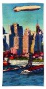 Lower Manhattan Skyline New York City Beach Towel