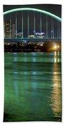 Lowry Bridge In St. Patrick's Day Green Beach Towel