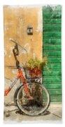 Lucca Italy Bike Watercolor Beach Towel