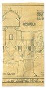 Lucy The Elephant Building Patent Blueprint  Beach Towel