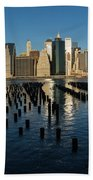 Luminous Blue Silver And Gold - Manhattan Skyline And East River Beach Towel