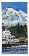 Lummi Island Ferry And Mt Baker Beach Towel