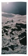 Lunar Rover At Rim Of Camelot Crater Beach Towel by NASA / Science Source
