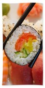 Lunch With  Sushi  Beach Towel