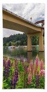 Lupine In Bloom By Sauvie Island Bridge Beach Towel
