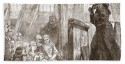 Luther Preaching In The Old Wooden Church At Wittemberg Beach Towel