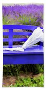 Luvin Lavender Farm Bench Beach Towel