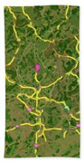 Luxembourg Green Traffic Map, Abstract Europe Map Beach Towel
