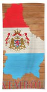 Luxembourg Rustic Map On Wood Beach Towel