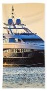 Luxury Yacht On Golen Sunset Beach Towel